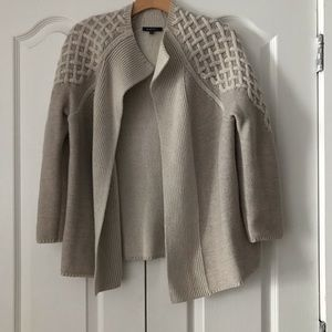 Lafayette Beige Embroidered Cardigan Sweater Wool
